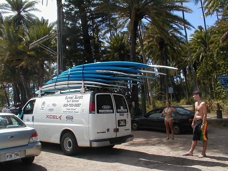 Brian's loaded surf lesson van, Haleiwa, HI